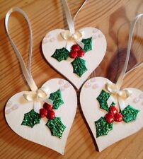 3 X Handmade Shabby Chic Christmas Decorations Wood Holly Cream / Ivory Bows