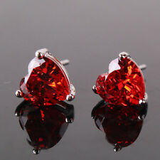 January birthston 18k white gold filled garnet angle attractive stud earring