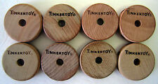 Wooden Tinker Toys Parts Lot: 8 SPOOLS (1-Hole) Replacement Tinkertoy Pieces