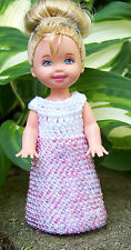 "Kelly 4 1/2"" Doll White Long Dress Gown with Pink, Purple Mix Seed Beads Crochet"