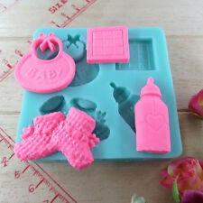 Baby Silicone Mold Fondant Cake Sugarcraft Decorating bottle shoes shaped Mould