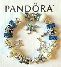 "AUTHENTIC PANDORA Sterling Silver Barrel Clasp Charm Bracelet ""Dragonfly"" White"