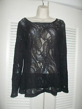 Sexy Lauren Vidal Black Sheer Stretch Lace Long Sleeve Top Tunic Blouse Medium M