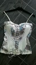 LOLINE CREAM/GREEN/GREY SIZE LARGE BASQUE CORSET TOP WITH SQUARE GEM DETAIL