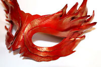 Feather Mask Red with Gold Hightlights Handmade Leather Mask Venetian Masquerade