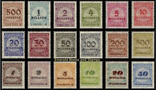 EBS Germany 1923 Inflation Numeral in Rosette (I) Michel No. 313A-330A MNH**