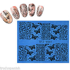 Nail Art Water Transfers Stickers Decals Black Flowers Butterflies Gel Polish 41