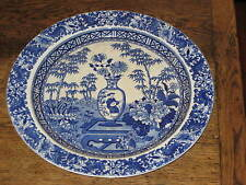 Wedgwood pearlware chinois vase/blue bamboo pattern platter chargeur C1820S