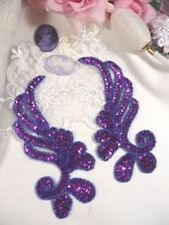"""0182 ~ PURPLE MIRROR PAIR SEQUIN BEADED APPLIQUES 6"""" Sewing Crafts Motif Patch @"""