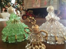 3 Hand Made Vintage Angel Ornaments - Safety Pin Angels And Pearl Angel