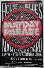 "MAYDAY PARADE / MAN OVERBOARD / CARTEL"" 2013 TOUR"" SAN DIEGO CONCERT POSTER -"