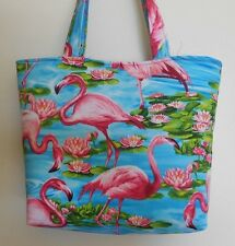 Handmade Flamingo with Blue Water     Lily Pads & Pink Flowers Tote Purse Bag
