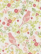 TIMELESS TREASURES BIRDS AND FLOWERS ON WHITE COTTON FABRIC BTY