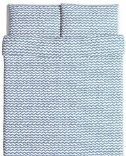 IKEA SOMMAR Quilt cover & 4 pillowcases, white, blue chevrons, 240x220/50x80 New