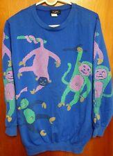 BIJO Monkey Business lrg crewneck sweatshirt 1970s neon pop art Chimps sleeves