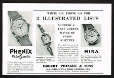 1950's Vintage 1956 Robert Pringle - Phenix & Mira Watch - Paper Print AD