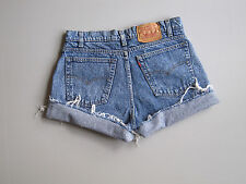Vintage Levi's 550 High Waist Cut Off Denim Shorts Boyfriend Jeans Blue 32""