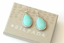 "Silpada Sterling Silver Howlite ""Make a Splash"" Turquoise Earrings W3159 NEW!"