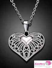 925 Sterling Silver Patterned Heart Pendant Necklace Chain Jewellery Womens Gift