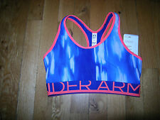 Brand New Misses Blue & Pink Under Armour Mid Impact Sports Bra, Size XS