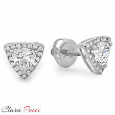 1.5ct Round Cut A+ CZ White Sterling Silver Designer trillion Halo Stud Earrings
