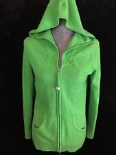 Banana Republic M 100% Cashmere Green Full Zip Cardigan Sweater Hoodie Jacket