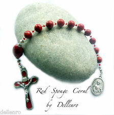 ✫RED SPONGE CORAL✫  HAND CRAFTED ONE DECADE TENNER ROSARY CHAPLET