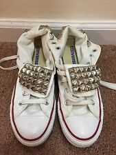 ~CHUCK TAYLOR CONVERSE ALL STAR White Shoes Sneakers Mens 5.5 5 1/2 Rhinest