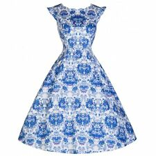 NEW VINTAGE 50'S STYLE RUTH BLUE ORNATE FLORAL ROCKABILLY PARTY DRESS SIZE 12
