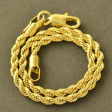 Twisted Heavy 18K Yellow Gold Filled Weave Rope Womens Mens Chain Bracelet