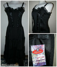 ~ STUNNING BARES GOTH STEAMPUNK VICTORIAN STYLE LONG PIN STRIPE DRESS S/M BNWT ~
