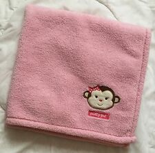 "Cutie Pie Monkey Pretty Girl Blanket Pink 30"" Square Polka Dot Bow Brown Head"