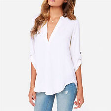 Womens Ladies Casual V Neck Chiffon Long Sleeve Tops Tee Shirt Blouse Plus Size