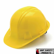 YELLOW HARD HAT 4 POINT RATCHET SUSPENSION PYRAMEX HP14130 CONSTRUCTION SAFETY