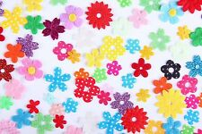 100 x MIXED Stick On Fabric Flowers 4 Card Craft, Scrapbooking, Embellishments