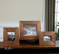 SET OF THREE SIZES OXIDIZED COPPER SHEETING PICTURE PHOTO FRAMES RUSTIC TUSCAN