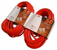 2-Pack 50Ft 12 AWG Extension Cord Heavy Duty Grounded Lit End UL 12/3 Gauge