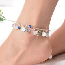 1PC Bohemian Evil Eye Coin Pendants Silver Anklet Foot Anklet Jewelery Finding