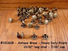 1018 Nickel Quality! Antique Brass Heavy Duty RIVETS for LEATHER Cases Belts