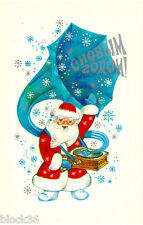 1978 Russian card HAPPY NEW YEAR Small Santa with huge grammophone