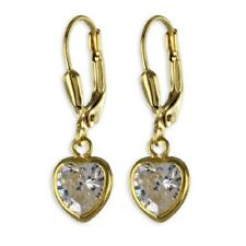 Ear Hangers Ear Studs Real 333 Gold Hearts Earrings Heart-shaped with zirconia
