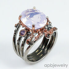 Handmade Jewelry Lavender Amethyst 925 Sterling Silver Ring Size 7.25/R84107
