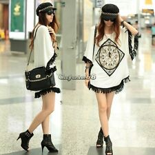 Women Ethnic batwing Sleeve tassels Loose Kimono T-shirt Long Top Blouse CaF8