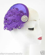 Purple & Silver Feather Fascinator Headpiece Hat Vintage 1940s Rhinestone S28