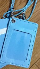 ID COMPANY BADGE HOLDER FRUX LEATHER NECK CORD BLUE LANYARD CARD KEYTAG NAMECASE