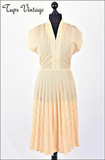 VINTAGE 70s LEMON YELLOW STRIPE PLEATED FLARED BATWING SUMMER DRESS 14