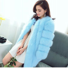 FASHION Warm Womens Jacket Furry Faux fox Rabbit Fur Cardigan Long Coats Ladies
