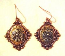 ANTIQUE GOLD & COPPER OVAL CAMEO FRAMED SILVER PEYOTE BIRD DANGLE EARRINGS