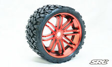 SRC Terrain Crusher [Belted Tires / Wheels] for 17mm Hex  (Pair) CHROME RED