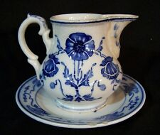 Antique VILLEROY & BOCH Dresden Saxony Flow Blue Cream Pitcher & Plate Germany